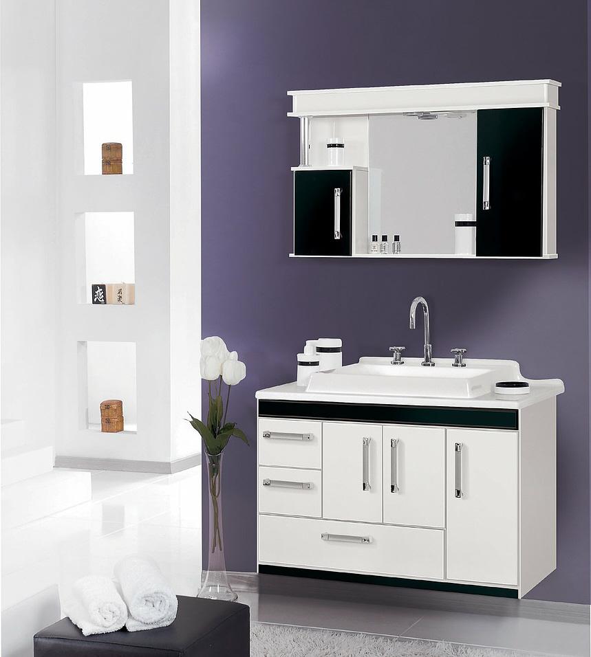 White, modern bath cabinet
