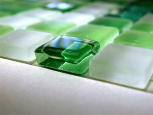Green glass tiles